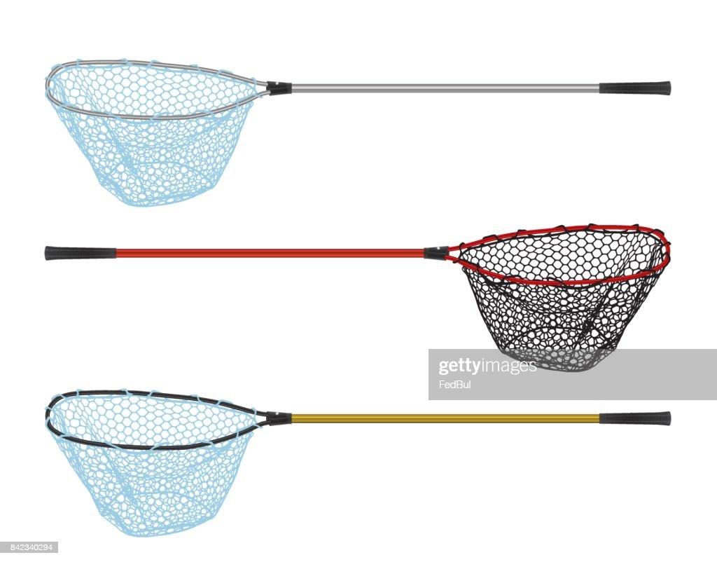 Fishing Landing net isolated on white
