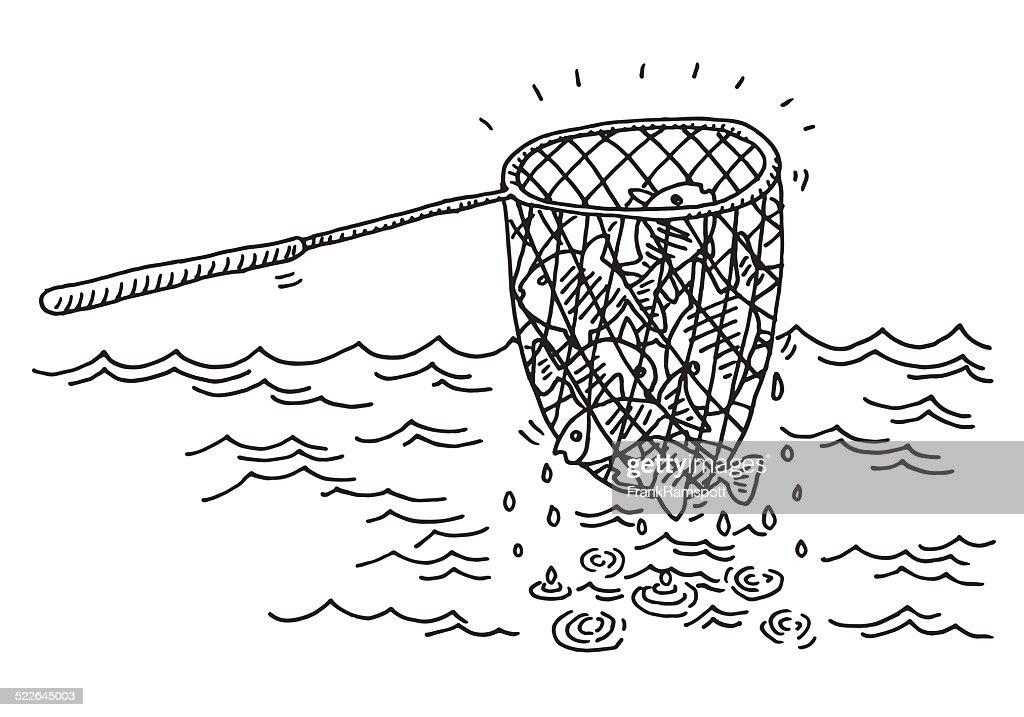 Fishing Net Catch Sea Drawing