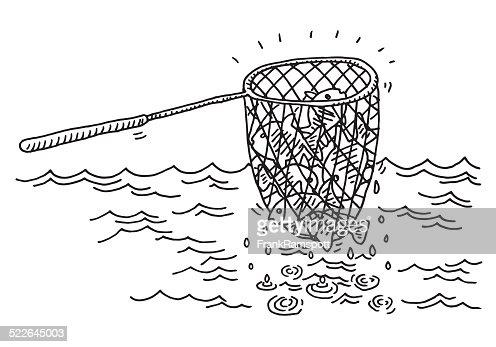 Filet De Pêche Ne Dessin De Mer Clipart vectoriel | Getty ...