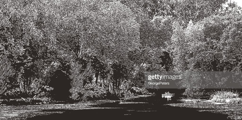 Fishing on a Minneapolis Lake during summer. Lake Of The Isles. : stock illustration