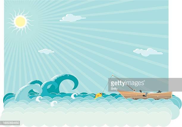fishing on the sea - tide stock illustrations, clip art, cartoons, & icons