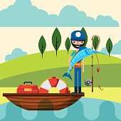 fishing people cartoon