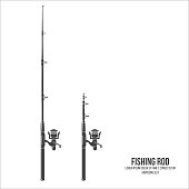Fishing rod isolated on the white background.