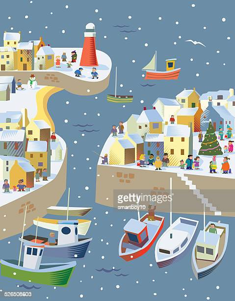 fishing / seaside village at christmas - christmas travel stock illustrations, clip art, cartoons, & icons