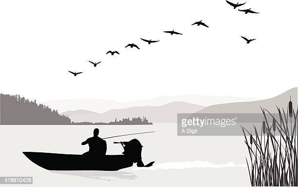 fishing solo - motorboating stock illustrations, clip art, cartoons, & icons