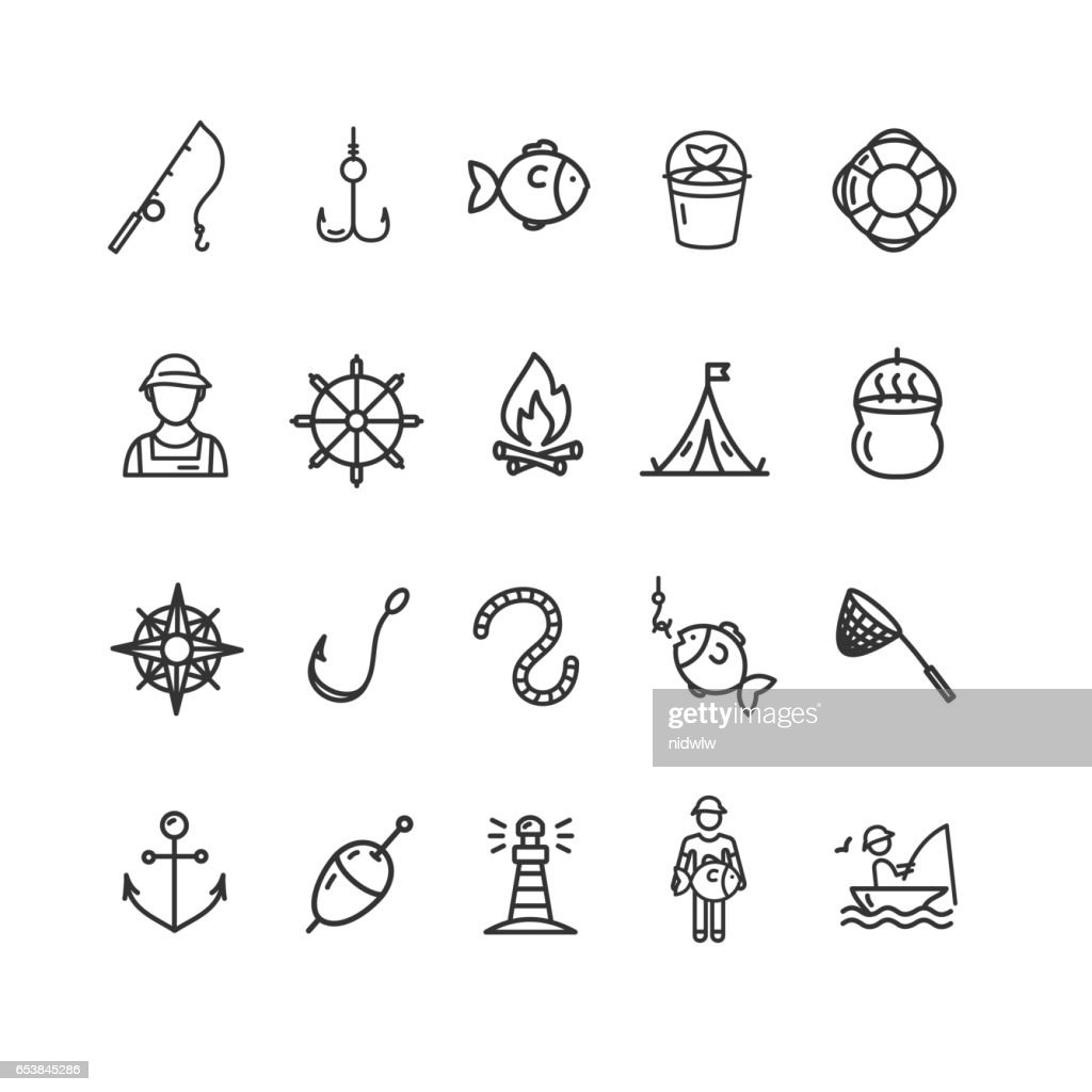 Fishing Sport and Leisure Icon Thin Line Set. Vector
