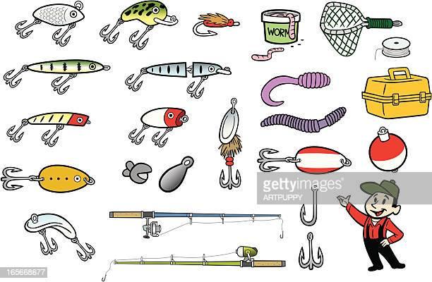 fishing stuff - fishing hook stock illustrations