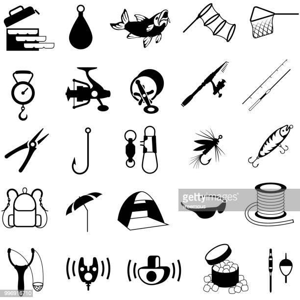 ilustraciones, imágenes clip art, dibujos animados e iconos de stock de iconos de la pesca - red de pesca