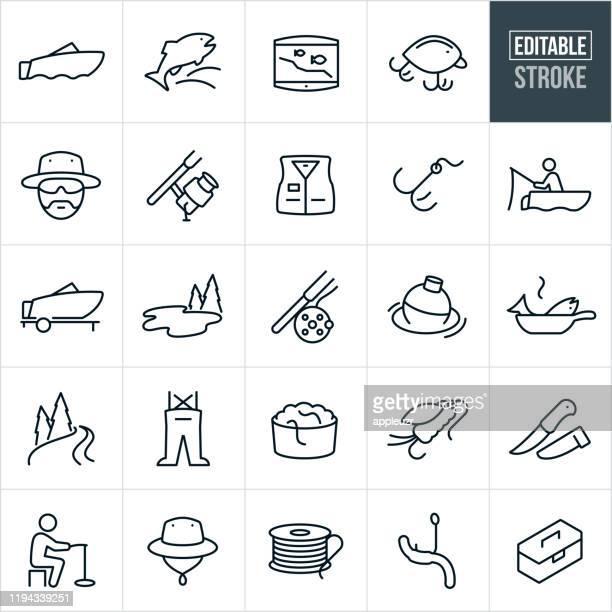 stockillustraties, clipart, cartoons en iconen met vissen dunne lijn iconen-ediatable beroerte - vishaak visgerei