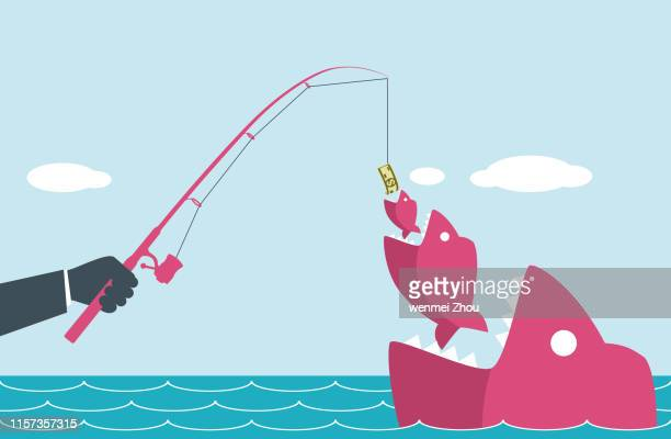 fishing - cartoon characters with big teeth stock illustrations