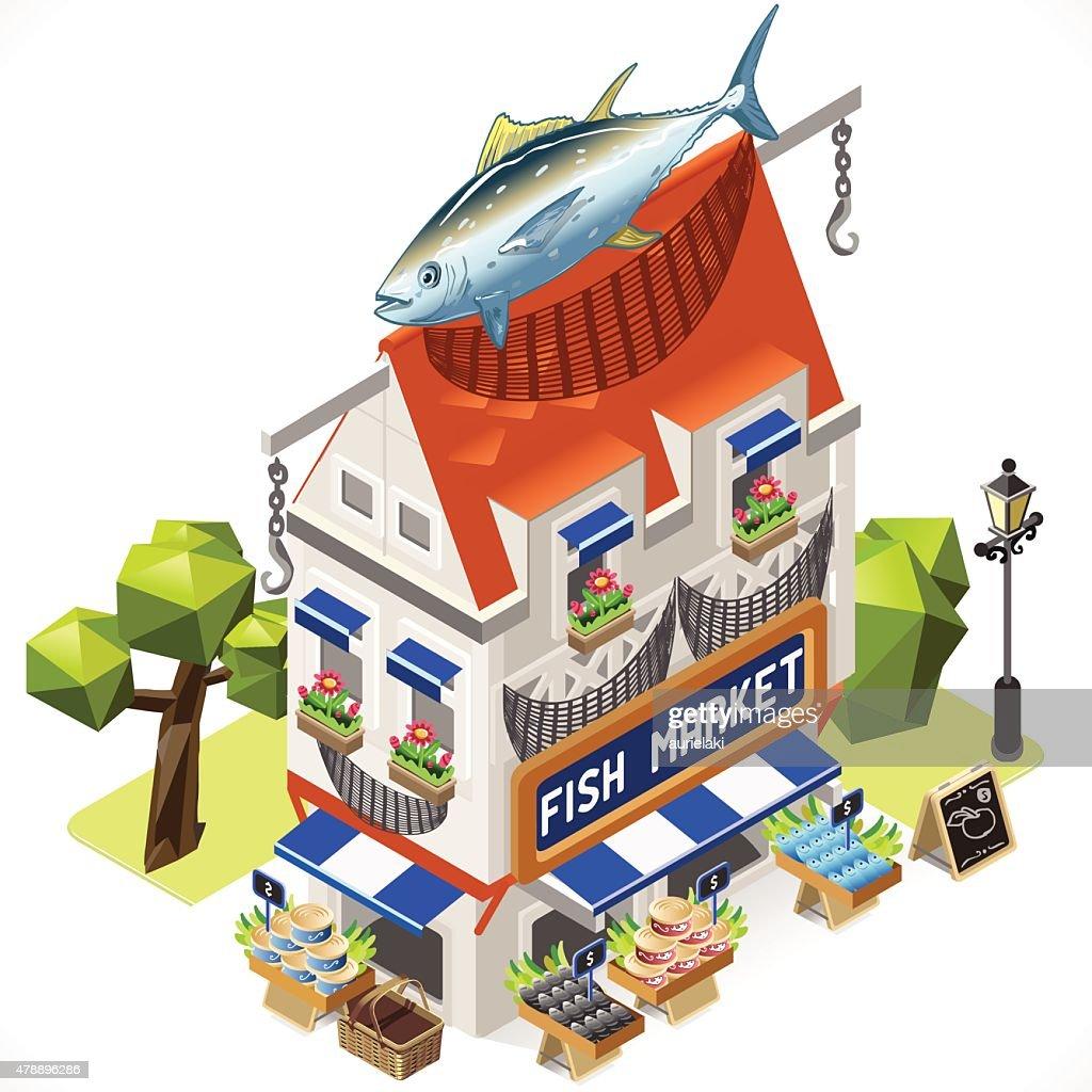 Fishmonger Shop City Building 3D Isometric