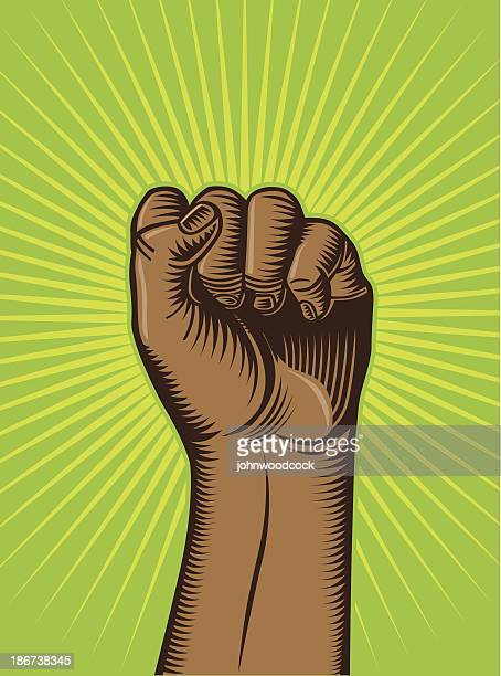 fist and flash - black power stock illustrations