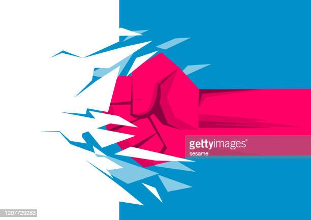 fist breaks wall, power, business concept - knockout stock illustrations