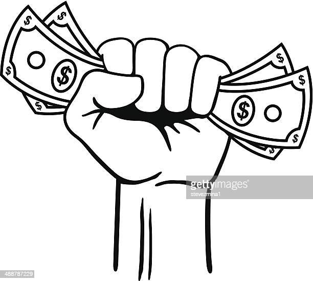 fist full of money - american one dollar bill stock illustrations, clip art, cartoons, & icons