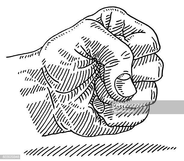 fist hand aggression drawing - furious stock illustrations