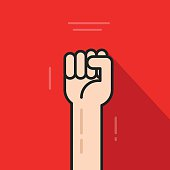 Fist hand up, revolution logo idea, freedom symbol, soviet concept