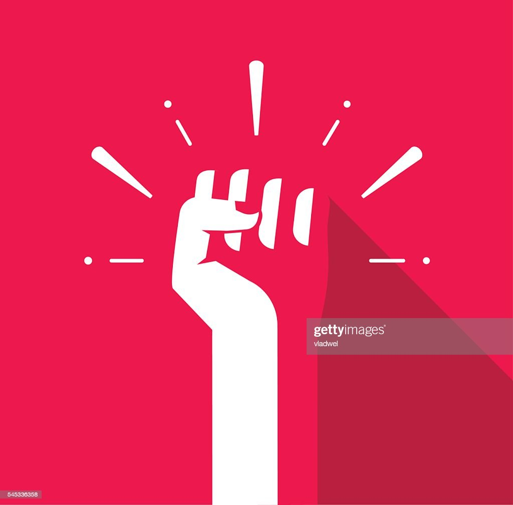 Fist hand up vector icon, revolution logo, freedom symbol, soviet