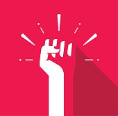 Fist hand up vector icon, revolution logo, freedom symbol, soviet