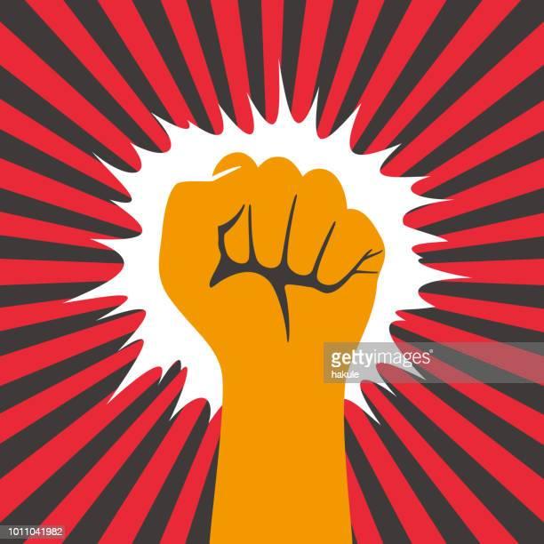 ilustraciones, imágenes clip art, dibujos animados e iconos de stock de puño de la mano con el brillo de sol - socialismo