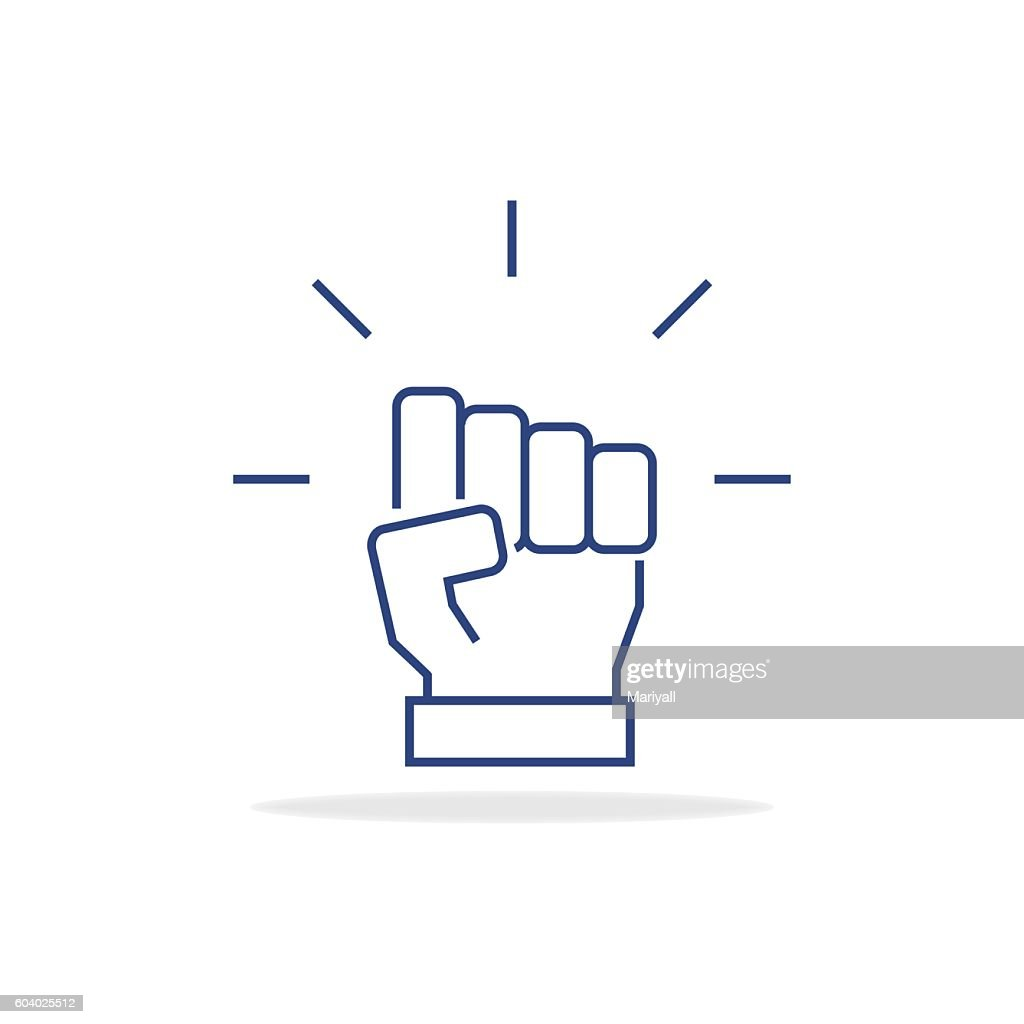Fist icon in thin line style. Vector symbol. Vector illustration.