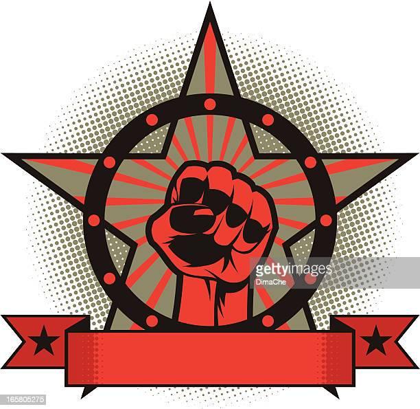 ilustraciones, imágenes clip art, dibujos animados e iconos de stock de puño de estrella - socialismo