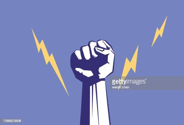 faust männliche hand, proletarische protestsymbol. - politik stock-grafiken, -clipart, -cartoons und -symbole