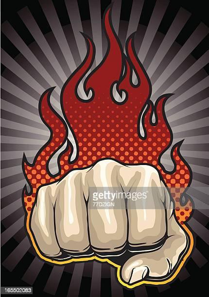 illustrations, cliparts, dessins animés et icônes de poing de feu - doigt dhonneur