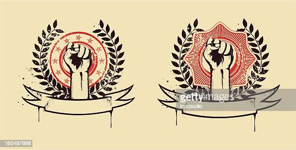 ilustraciones, imágenes clip art, dibujos animados e iconos de stock de puño juntas - socialismo