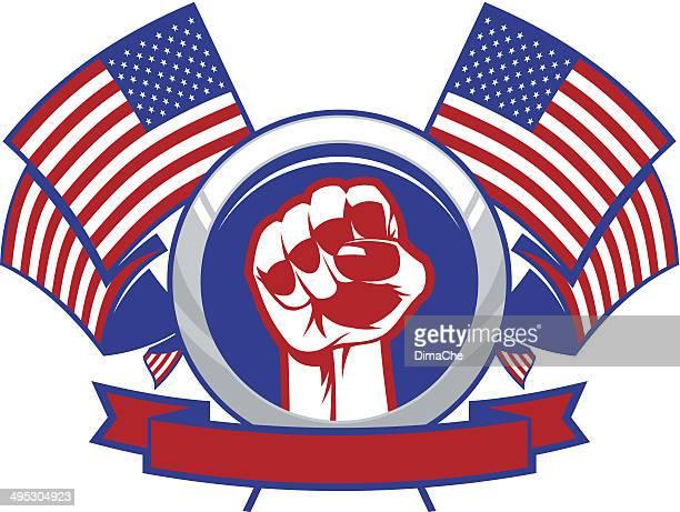 ilustrações, clipart, desenhos animados e ícones de punho com bandeiras norte-americanas - american revolution