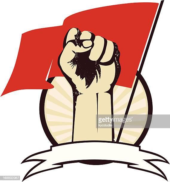 ilustraciones, imágenes clip art, dibujos animados e iconos de stock de puño con bandera - socialismo
