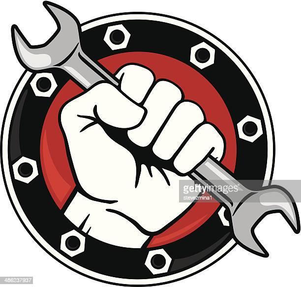 ilustrações, clipart, desenhos animados e ícones de punho com chave - cinto de ferramentas
