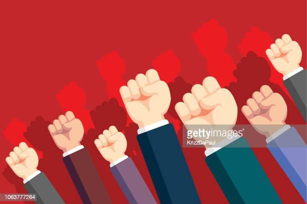 fists hands up - protestor stock illustrations