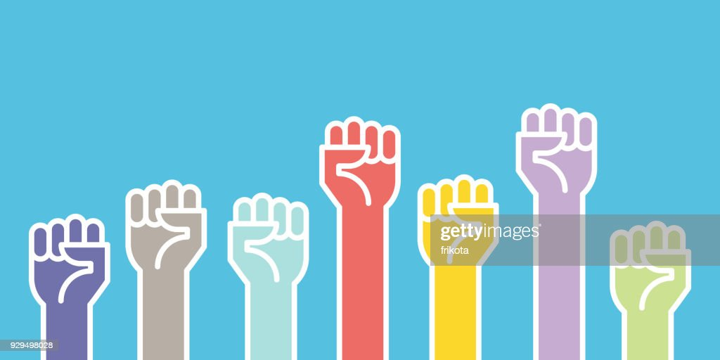 Fists Hands Up Vector Illustration Concept Of Unity Revolution Fight