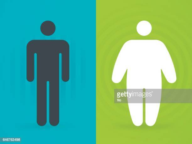 fit and overweight people - slim stock illustrations, clip art, cartoons, & icons