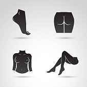 Fit body shape collection. Vector icons.