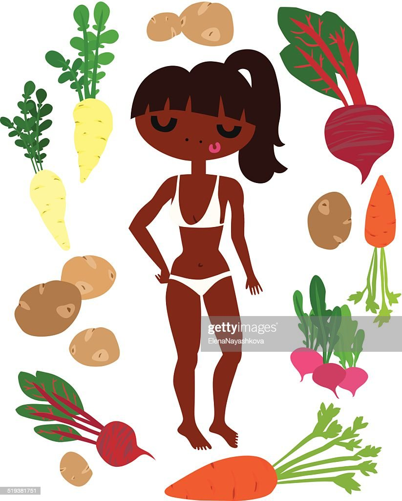 Fit Girl surrounded by Vegetables