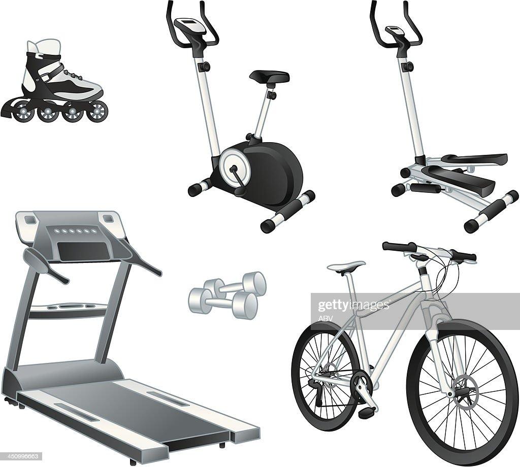 Fitnes sport - rollers, exercise bike, stepper, treadmill, dumbbells