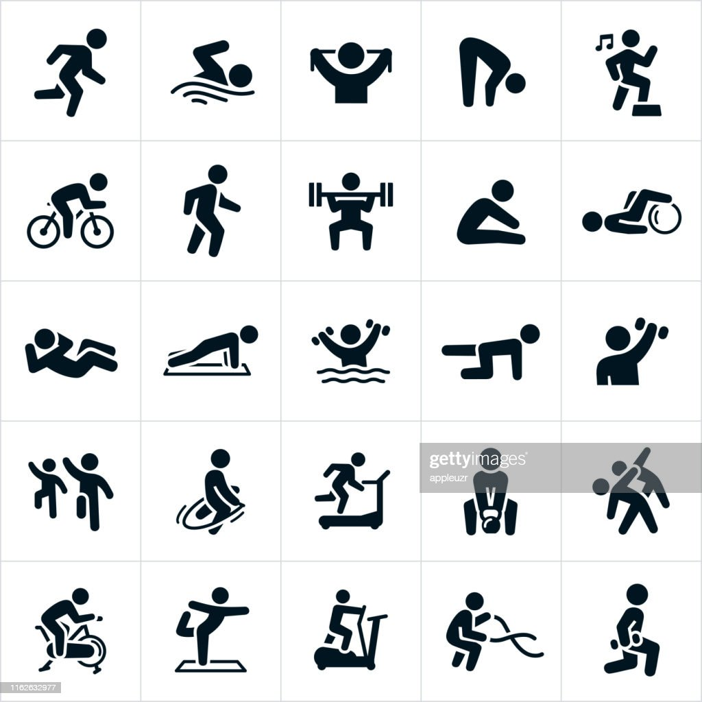 Fitness Activities Icons : Stock Illustration