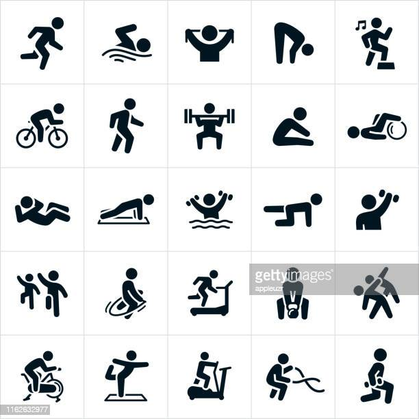 illustrazioni stock, clip art, cartoni animati e icone di tendenza di fitness activities icons - termine sportivo