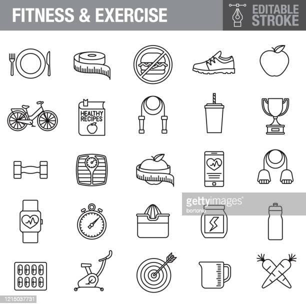 ilustrações, clipart, desenhos animados e ícones de conjunto de ícones de curso de curso edição de fitness e dieta - símbolo conceitual