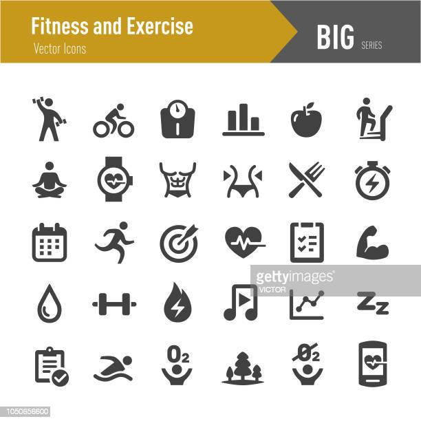 fitness and exercise icons - big series - weight training stock illustrations