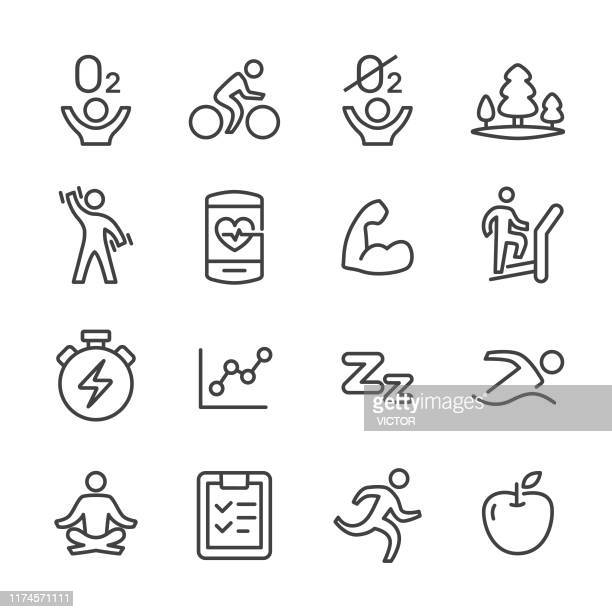fitness and exercise icons set - line series - anaerobic stock illustrations, clip art, cartoons, & icons