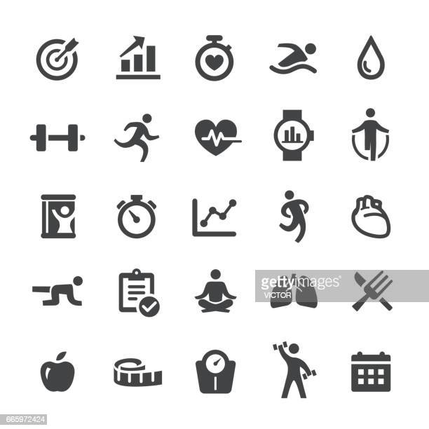 fitness and exercise icons - smart series - anaerobic stock illustrations, clip art, cartoons, & icons