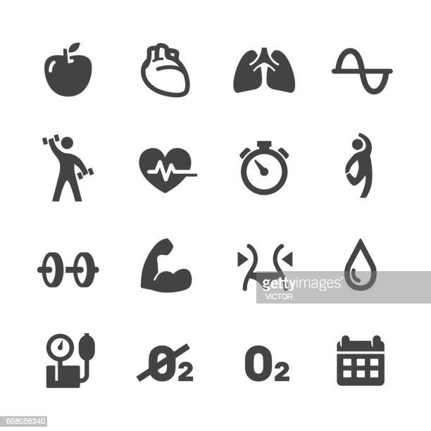 fitness and exercise program icons - acme series - anaerobic stock illustrations, clip art, cartoons, & icons