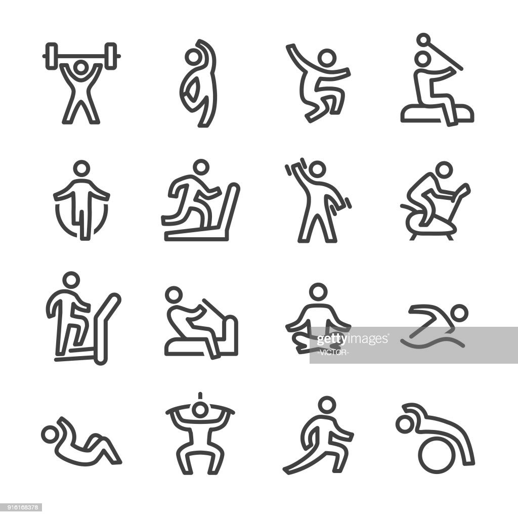 Fitness and Exercising Icons - Line Series : stock illustration