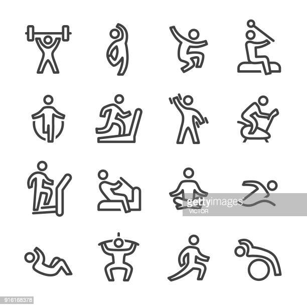fitness and exercising icons - line series - sport stock illustrations
