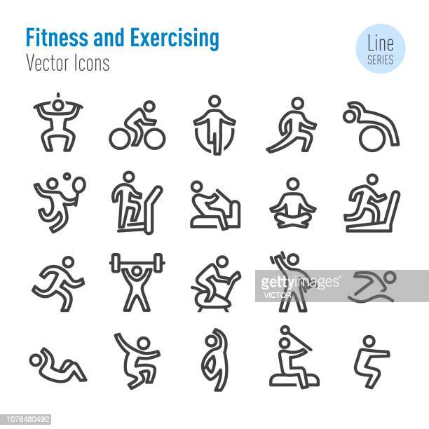 fitness and exercising icons - vector line series - relaxation exercise stock illustrations
