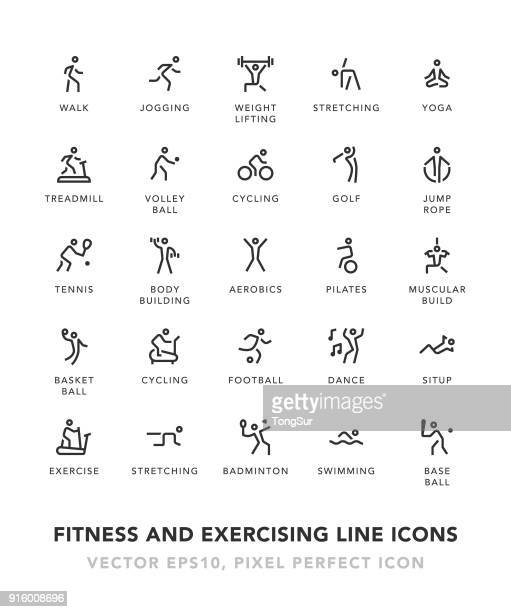 fitness and exercising line icons - weight training stock illustrations