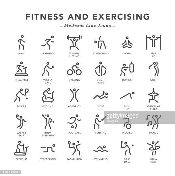 fitness and exercising - medium line icons - body building stock illustrations