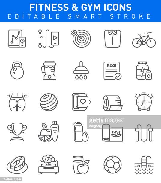 fitness and gym icons. editable stroke - weight stock illustrations